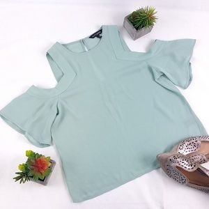 NWOT Express Green Cold Shoulder Blouse Q105E